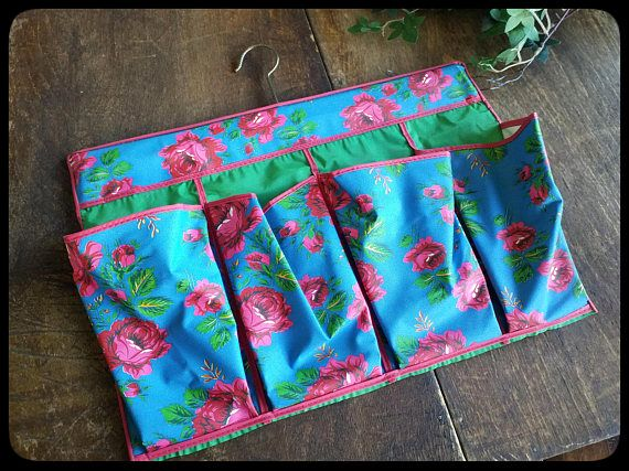 Vintage plastic oilcloth red roses wall organizer for bathroom