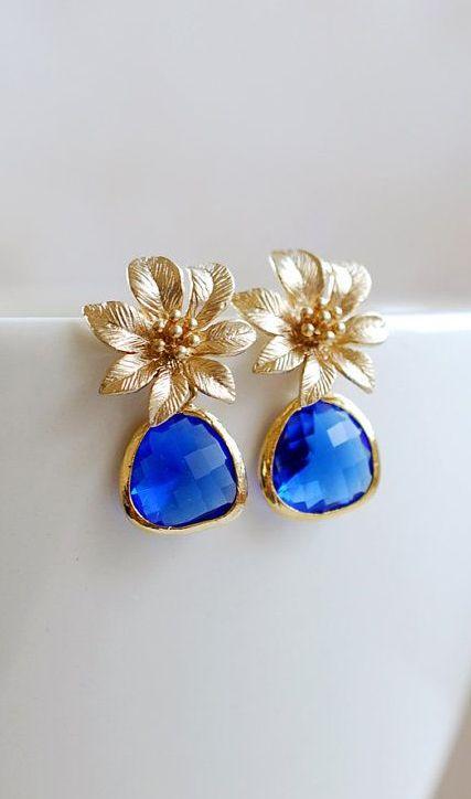 Gold Flower Blue Sapphire Glass Post Earrings