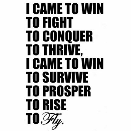 I came to win   to fight   to conquer  to thrive   I came to win   to survive to prosper   to rise   to FLY.