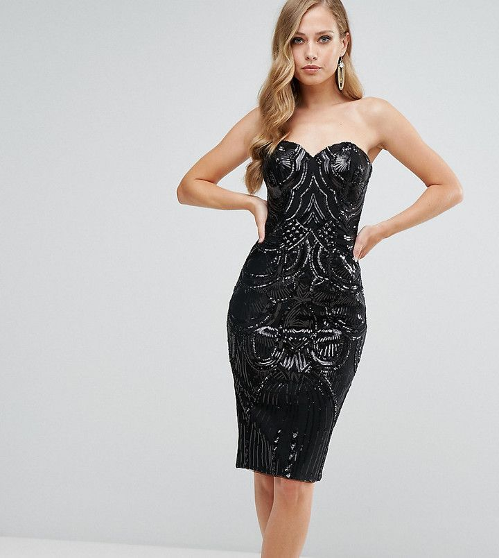 Bariano Deep Sweetheart Sequin Midi Dress