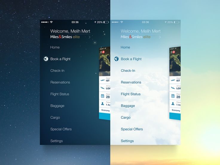 Side menu of Turkish Airlines iPhone app. It turns to day / night version…