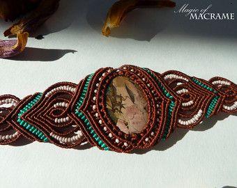 Labradorite macrame set Beige pendant and от MagicOfMacrame