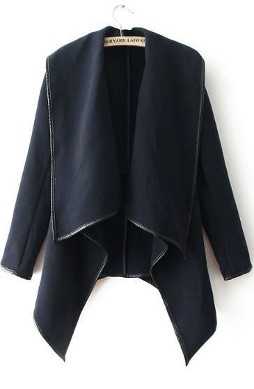 Navy Long Sleeve Contrast Trims Zipper Outerwear