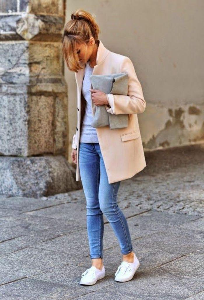 le manteau zara beige avec denim bleu