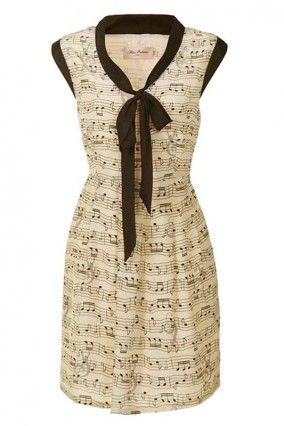 Melody Maker Contrast Bow Music Notes Dress (Cream) (1) 30 euros