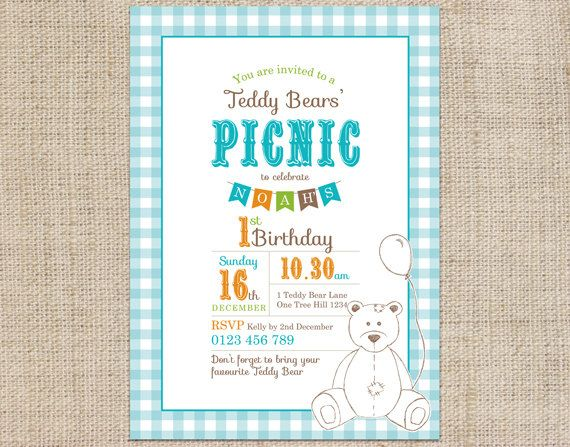 Teddy Bears Picnic Printable Invitation Blue - CocoElla Designs on Etsy