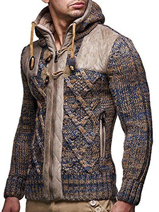 LEIF NELSON Men's Knit Jacket LN20225 - Brown, L