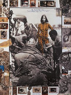 """Peter Beard photographed in Africa, focused on issues such as the demise of thousands of elephants and rhinos. """"The subject matter is the most important starting point"""". He embellishes his already powerful and strong images with things such as his own drawings in ink and paint, smears of animal blood, feathers, skin, leaves and dirt taken from the land. Each is unique, interesting mixture of materials, helps bring context to the images."""