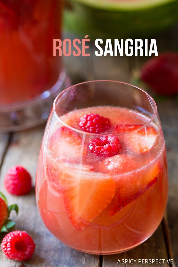 Blushing Rose Sangria Recipe on ASpicyPerspective.com #sangria #cocktails #mothersday