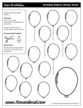 Balloon Templates, free for personal arts and crafts projects. For high resolution JPEG (1200x 927) please visit: http://timvandevall.com/printable-balloon-template/?preview=true&preview_id=25245&preview_nonce=5b6203382b