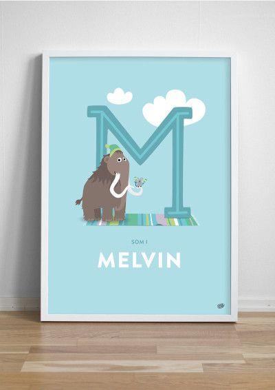 Namntavla Bokstaven M - maraccasspelande mus på mammut!