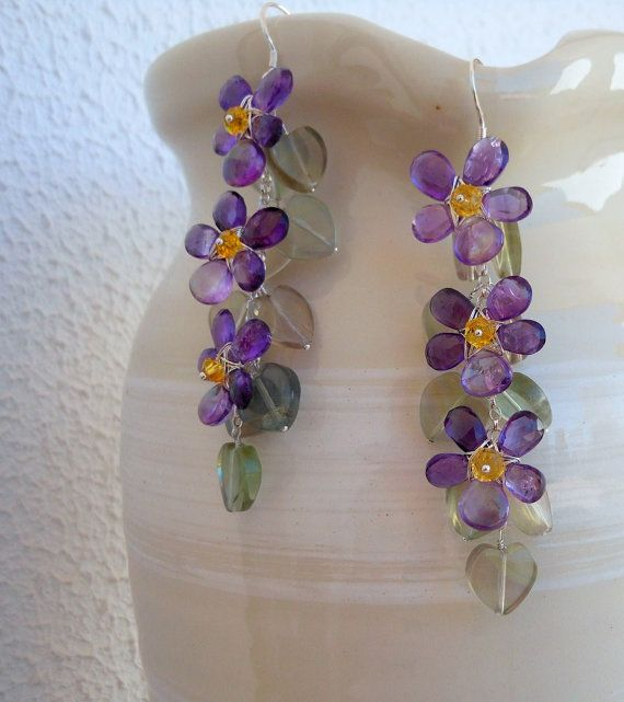 Amethyst Wire Wrapped Violet Earrings February by AliciasStones