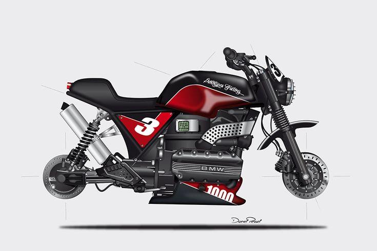 BMW K100 prototype illustration by Daniel Pessel from Prototype Factory