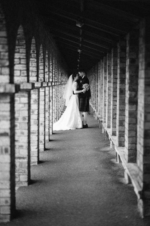 Black and white wedding portrait near Edinburgh.