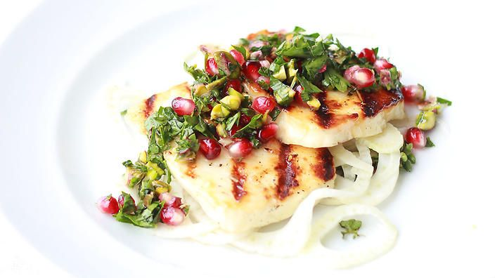 Honey and thyme haloumi with pickled fennel and pomegranate salsa