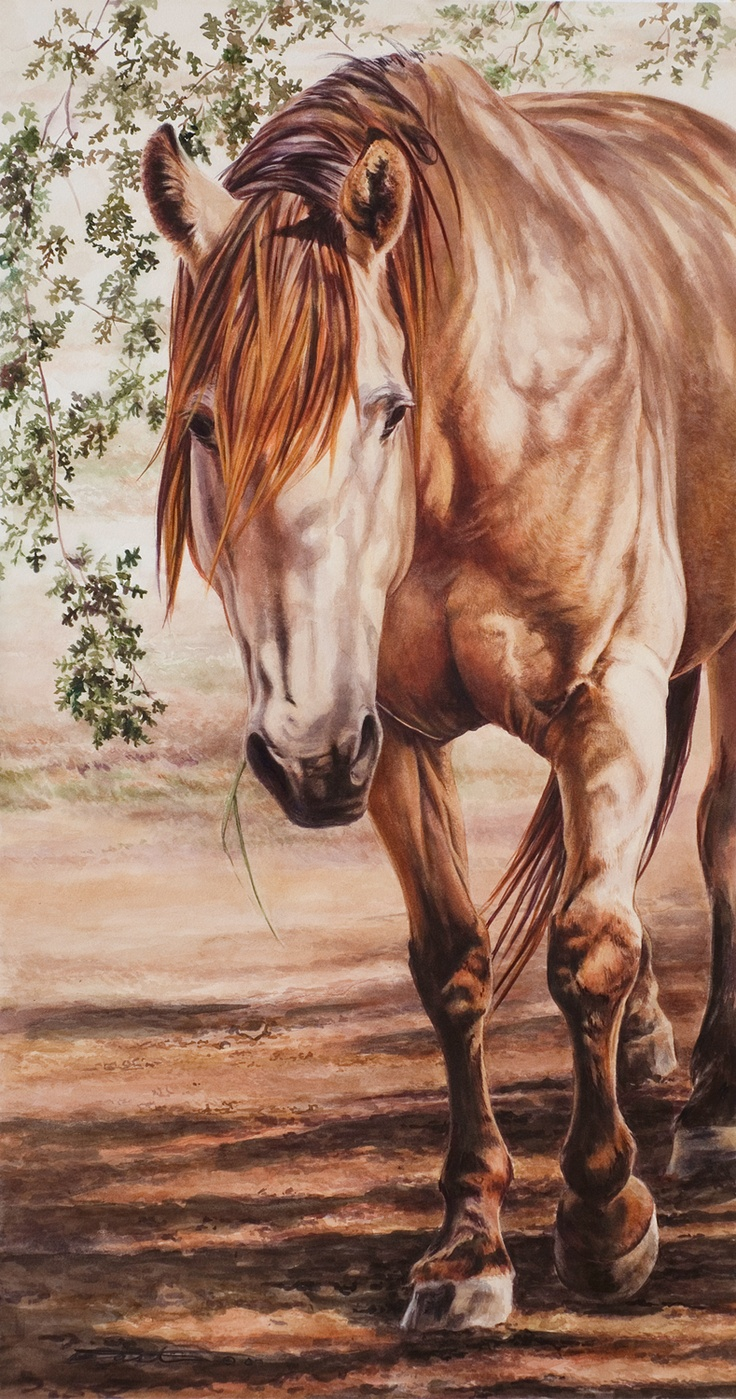 Bridgette - Watercolor by Kara Castro. Watercolorist Kara Castro is a native of Michigan whose love of art and outstanding talent were seen as early as childhood. While still in high school, she began selling her artwork in art shows and galleries as well as to private collectors. Her paintings display a tight realism seldom seen with watercolors and normally focus on both portraiture and equine subjects.