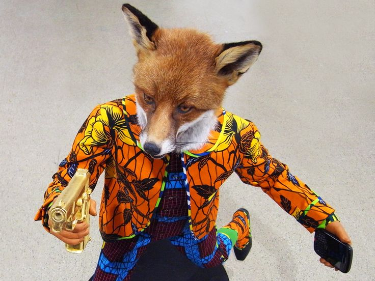 Revolution Kid (fox), 2012  Yinka Shonibare  www.yinkashonibarembe.com  via basel.artbasel.com    for #material #color