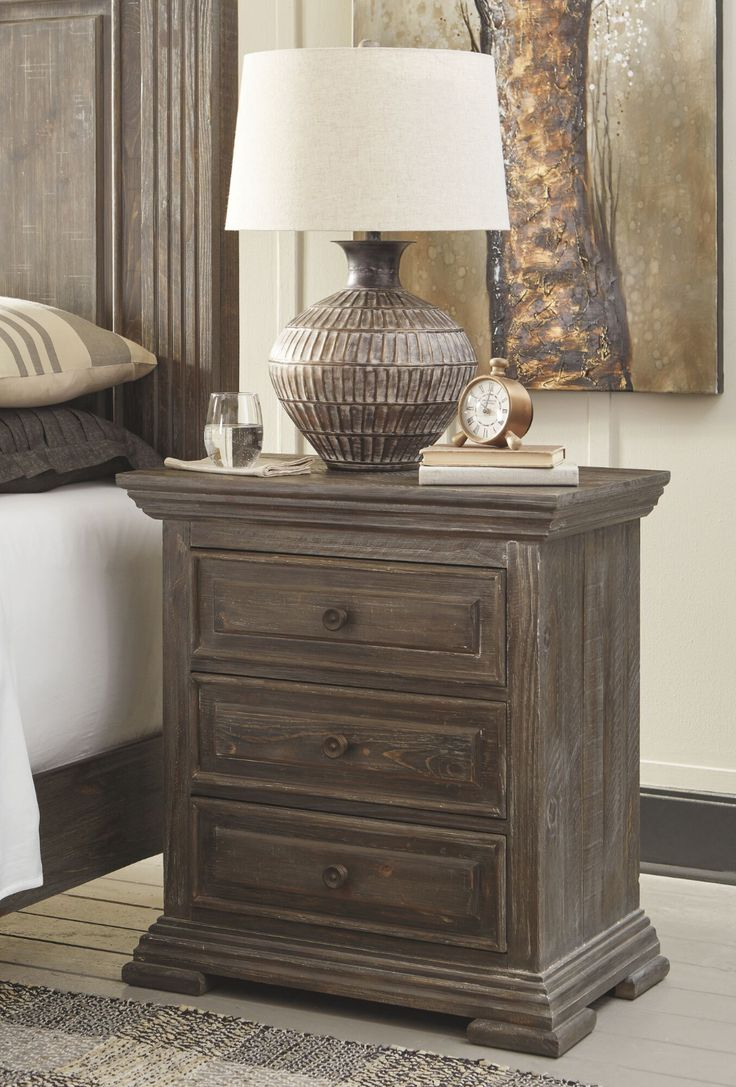 Traditional ThreeDrawer Nightstand in Aged Pine Mathis