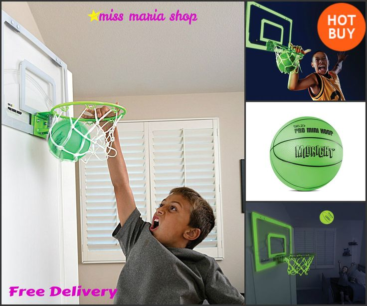 Mini Basketball Hoop Set Boys Bedroom Glow in Dark Wall Mounted Indoor Outdoor