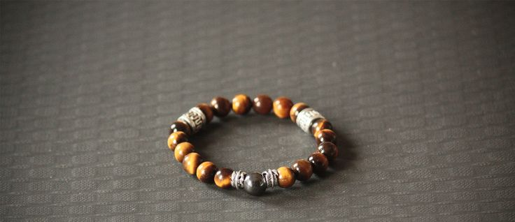 Tiger Eye Bracelet, 925 Silver Feather Charm, Dope