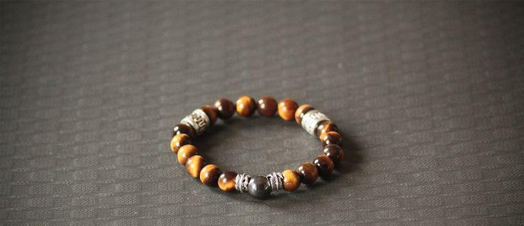 Tiger Eye Bracelet, 925 Silver Feather Charm, Dope