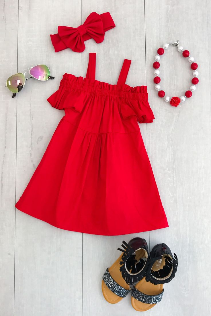 Red Off-Shoulder Dress So adorable and perfect for everyday wear this Spring and Summer! Includes dress only