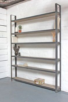 Reclaimed Pine And Steel Framed Free Standing Bookcase
