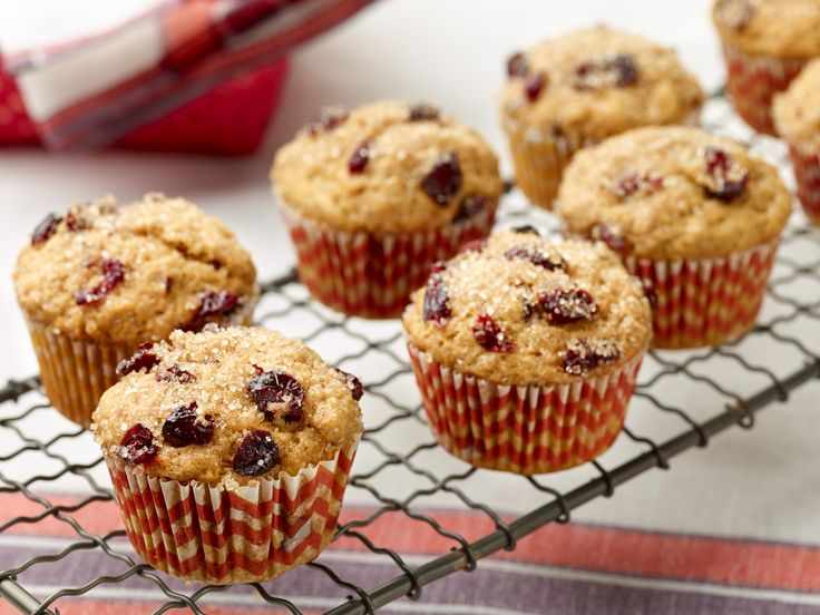Pumpkin Spice-Cranberry Muffins recipe from Food Network Kitchen via Food Network