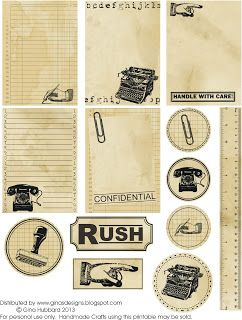 Gina's Designs: Freebie Friday Vintage Office