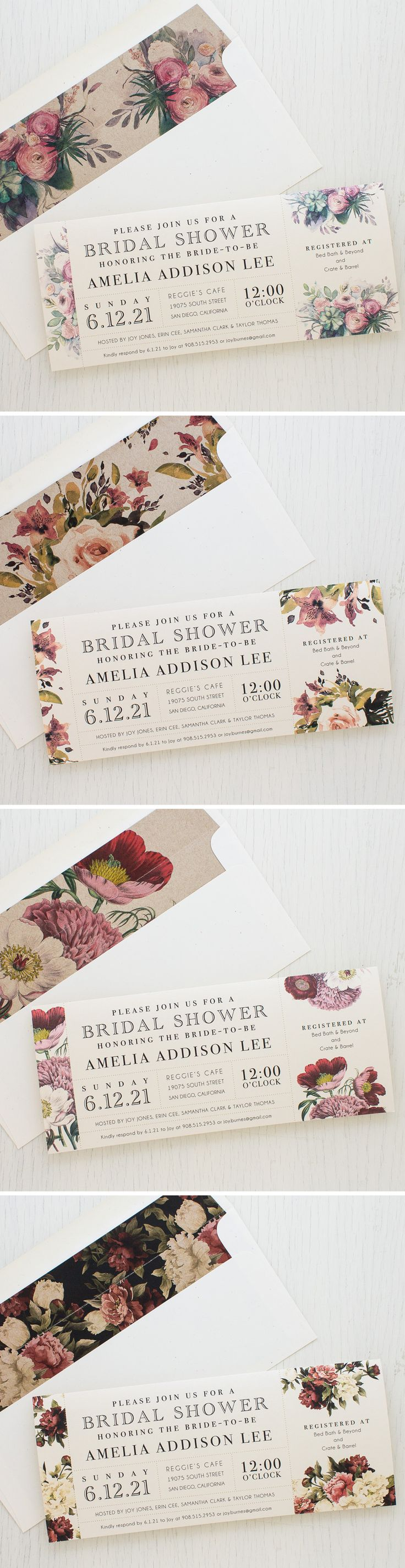Soft & Romantic Watercolor Garden Rose inspired Bridal Shower Invites with Matching Envelope Liners. New for 2017 Brides!