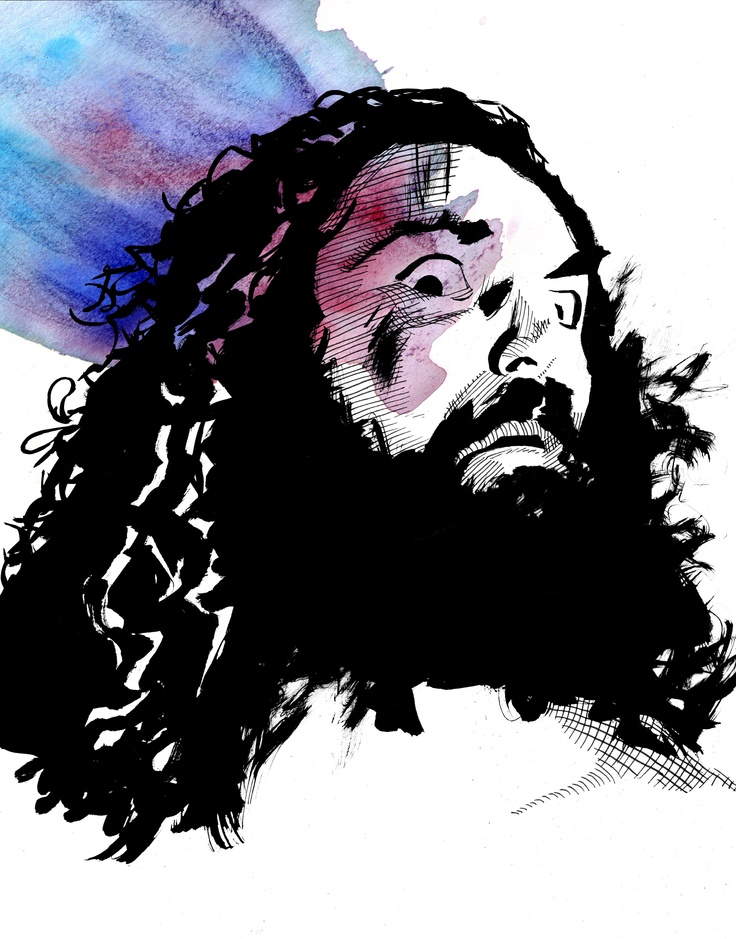 "Bruiser Brody  l  Ink and watercolor on 9"" x 12"" watercolor paper l http://www.robschamberger.com/commissions"