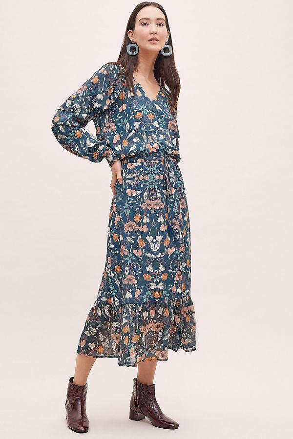d33e78671a43c Kachel Winter Floral-Print Maxi Dress in 2019 | Anthro | Floral ...