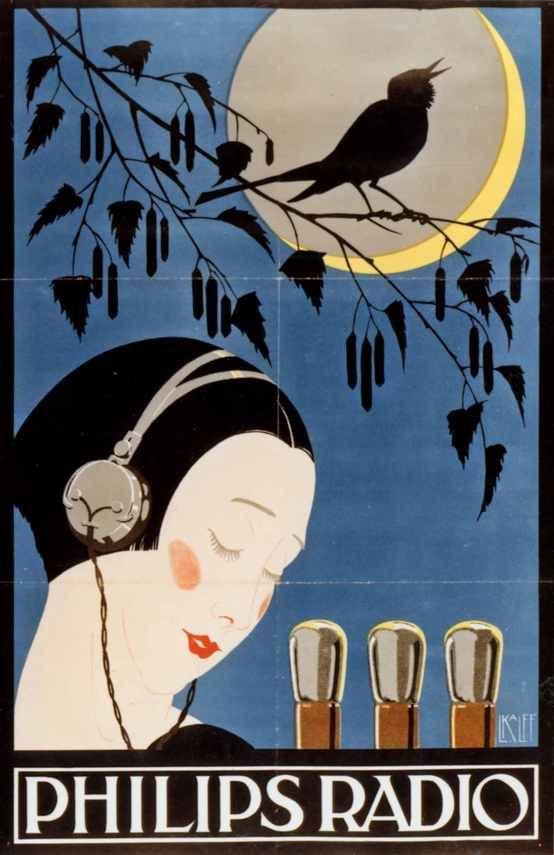 Poster for Philips radio tubes, 1926 | #vintage #advert #AD #retro