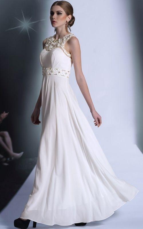 ビューティーホワイトロングドレス♪ - ロングドレス・パーティードレスはGN|演奏会や結婚式に大活躍!