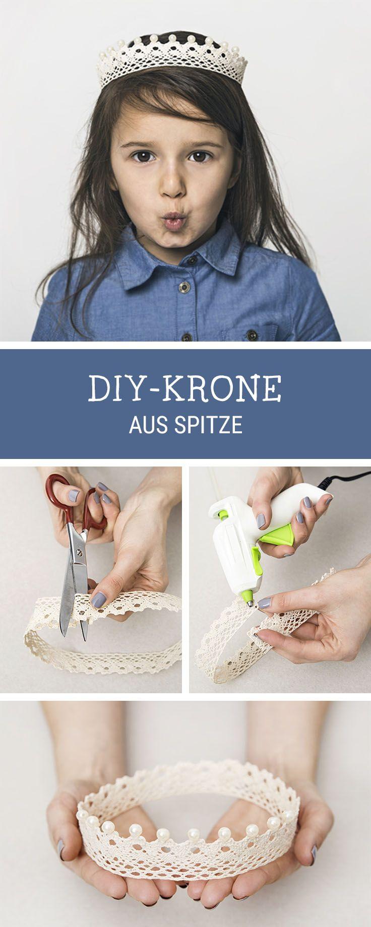 Einfache DIY-Idee für Fasching und Karneval: Krone aus Spitze selbermachen / easy diy tutorial for carnival: princess crown made of laces via DaWanda.com