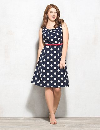 Plus Size Polka Dot Fit-and-Flare Dress
