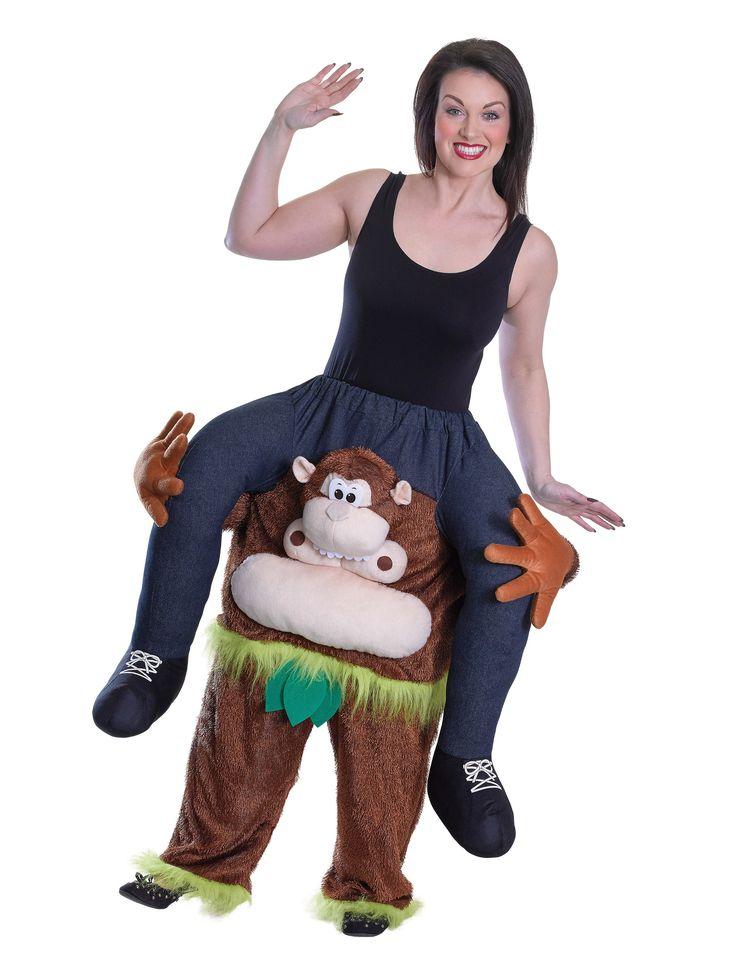 """Disfraz de hombre sobre mono para adulto: Este disfraz de hombre sobre mono incluye un pantalón tipo """"carry me"""" (camiseta y zapatos no incluidos).El pantalón representa un mono parado, de color café , la..."""