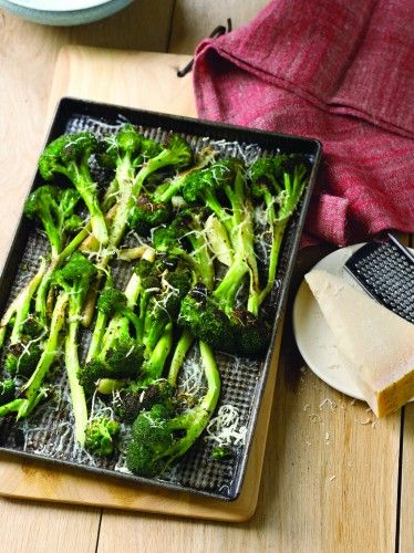 Roasted Broccoli with Parmesan Cheese #recipe from Ten Dollar Dinners by @Abu mnsar Saad Network's Melissa d'Arabian
