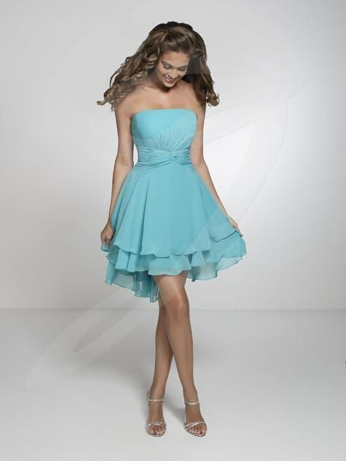 Balletts Bridal - 19042 - Bridesmaids by Jacquelin Bridals Canada - This bridesmaid dress features a strapless neckline pleated cummerbund accent at waist, short A-line skirt.