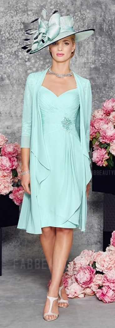 Gorgeous Sheath Column Knee-length Chiffon Mother of the Bride Dress! Include at cute matching coat. See more at http://www.cutedresses.co/product/sheath-column-knee-length-chiffon-mother-bride-dress/