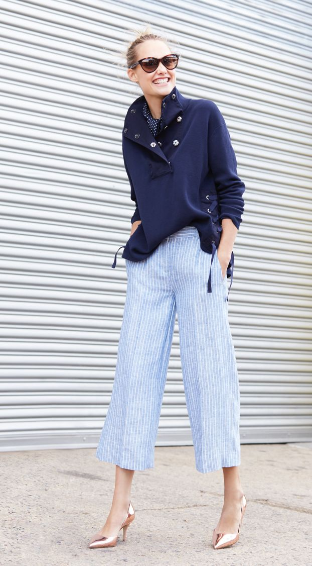 J.Crew Looks We Love: women's garment-dyed crepe-cotton popover sweater, gazebo pant in market stripe, Ryan sunglasses, silk scarf in dot and Colette metallic rose gold d'Orsay pumps.