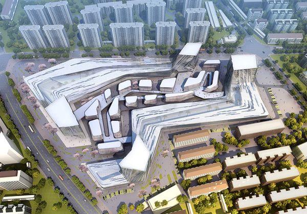 Shanghai Wuzhou International Plaza, sda, SDA (Synthesis Design+Architecture), Shanghai, China,  mixed-use, mixed-use development, yin and yang, titanium zink panels, zinc carbonate, urban development, Urban Canyon, luxury retail, lifestyle development