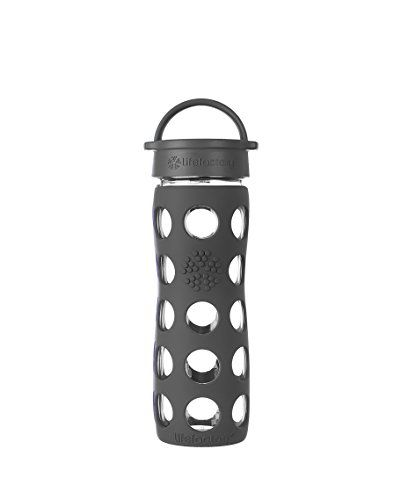 Lifefactory 16Ounce BPAFree Glass Water Bottle with Leakproof Cap  Silicone Sleeve Carbon *** For more information, visit image link.
