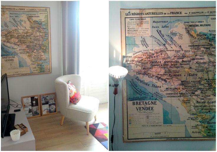 appartement - decoration - fauteuil carte - vendée - bretagne - nantes - rennes - appartment - map   https://homeandbiscuits.wordpress.com