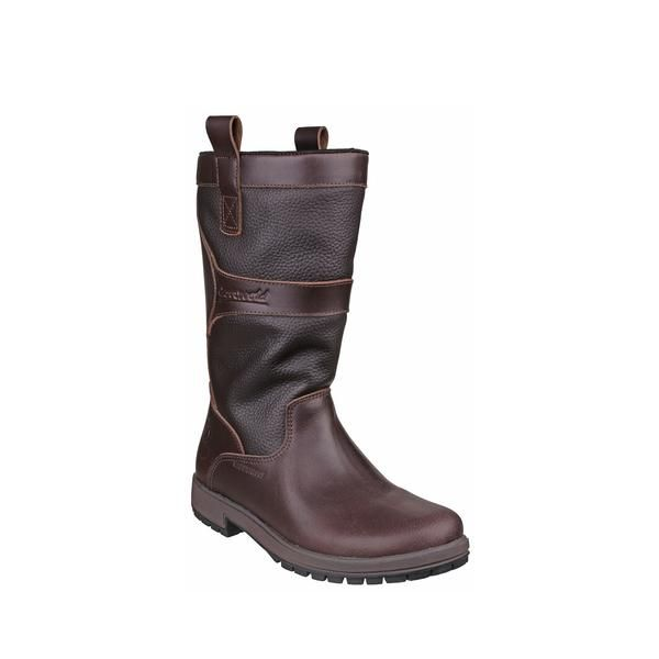 Cotswold Wellingtons - Ascot Leather Mid-Calf Unisex. Walnut.  A luxurious combination of zug grain and smooth leather in a glamorous sporting style. Size: 36, 37, 38, 39, 40, 41, 42. #Leather #Boots #Walnut #Brown #Waterproof #Country #Womens #Ladies #Men
