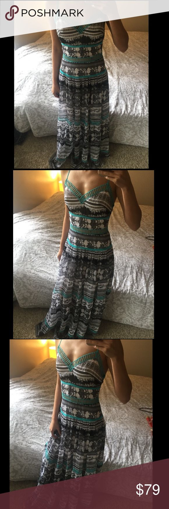 Bebe Tribal Print Teal Trim Maxi Dress XS 0 Brand New. Fits size 0.  Sweeping crinkle chiffon maxi dress with mix-print stripes, a tiered peasant skirt and contrast threadwork that reveals just the right amount of skin. Adjustable straps. Hidden back hook-and-eye and zip closure. Lined to mid-thigh. 🌸 No Trades 🌸 Ships next day unless Sunday 🌸 Make an offer! I accept most reasonable offers! 😊 bebe Dresses Maxi