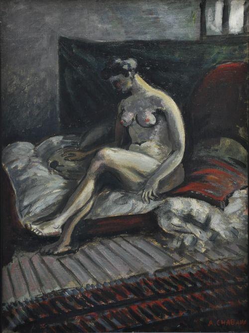 Auguste Chabaud, Femme nue assise sur un sofa rouge, c.1912.