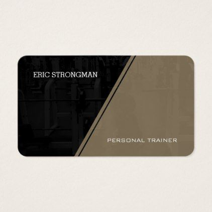 Modern gym style tan cover business card - fitness businesscards personal trainer instructor business cards card