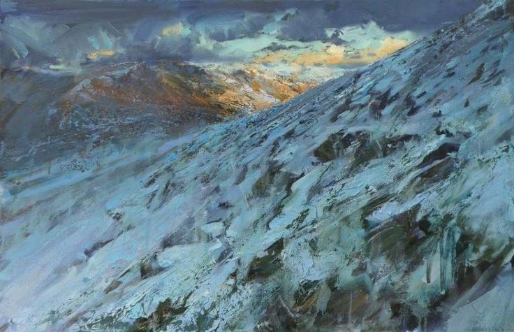 Uwchlaw Clogwyn Goch / Above Clogwyn Goch  Martin Collins  Oil on canvas 2011  60 x 100 cm