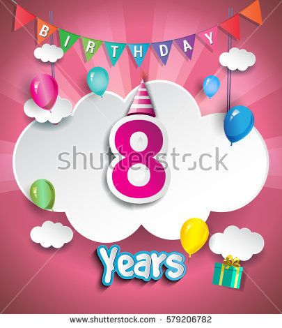 8th Anniversary Celebration Design, with clouds and balloons. using Paper Art Design Style, Vector template elements for your, eight years birthday celebration party.
